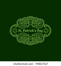 Outline badge with two horseshoes, shamrock leaves, floral ornament. Vector illustration.