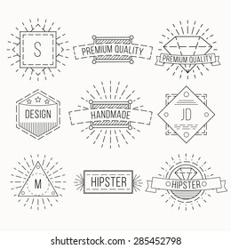 Outline badges and emblems template for logo design