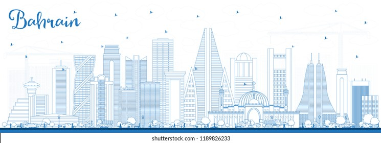 Outline Bahrain City Skyline with Blue Buildings. Vector Illustration. Business Travel and Tourism Concept with Modern Architecture. Bahrain Cityscape with Landmarks.