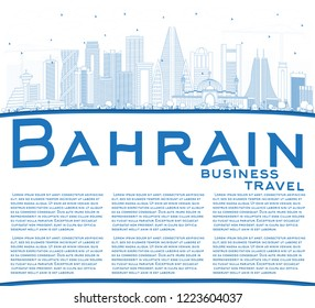 Outline Bahrain City Skyline with Blue Buildings and Copy Space. Vector Illustration. Business Travel and Tourism Concept with Modern Architecture. Bahrain Cityscape with Landmarks.