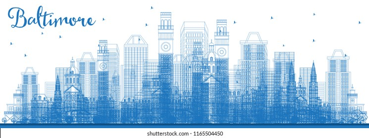 Outline Baltimore Maryland City Skyline with Blue Buildings. Vector Illustration. Business Travel and Tourism Concept with Modern Architecture. Baltimore Cityscape with Landmarks.