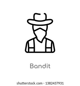 outline bandit vector icon. isolated black simple line element illustration from wild west concept. editable vector stroke bandit icon on white background