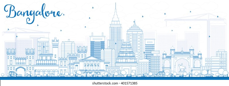 Outline Bangalore Skyline with Blue Buildings. Vector Illustration. Business Travel and Tourism Concept with Historic Buildings. Image for Presentation Banner Placard and Web Site.