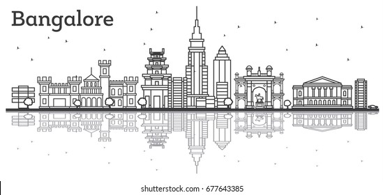 Outline Bangalore Skyline with Historic Buildings and Reflections. Vector Illustration.