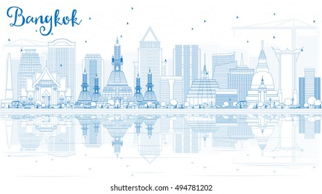 Outline Bangkok Skyline with Blue Landmarks and Reflections. Vector Illustration. Business Travel and Tourism Concept.