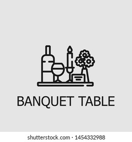 Outline banquet table vector icon. Banquet table illustration for web, mobile apps, design. Banquet table vector symbol.