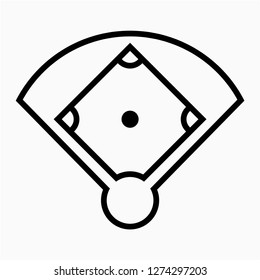 Outline baseball field pixel perfect vector icon