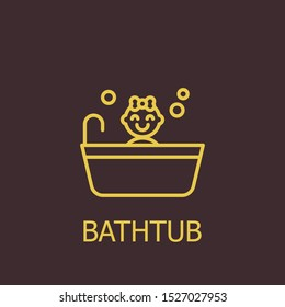 Outline bathtub vector icon. Bathtub illustration for web, mobile apps, design. Bathtub vector symbol.