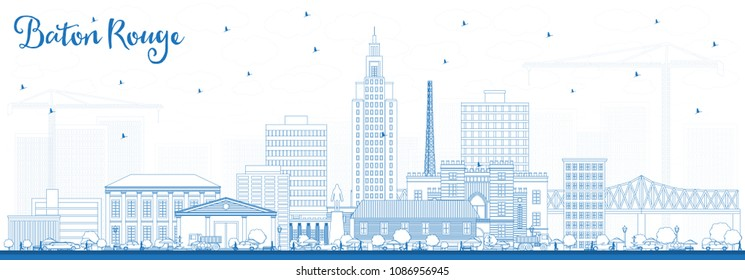 Outline Baton Rouge Louisiana City Skyline with Blue Buildings. Vector Illustration. Business Travel and Tourism Concept with Modern Architecture. Baton Rouge USA Cityscape with Landmarks.