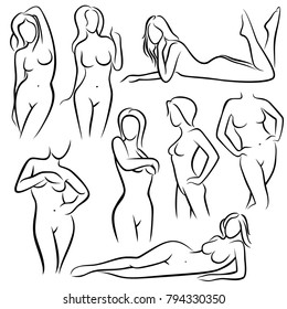 Outline beautiful woman vector silhouettes. Line female body beauty symbols. Sketch of woman model posing, figure girl sexy illustration