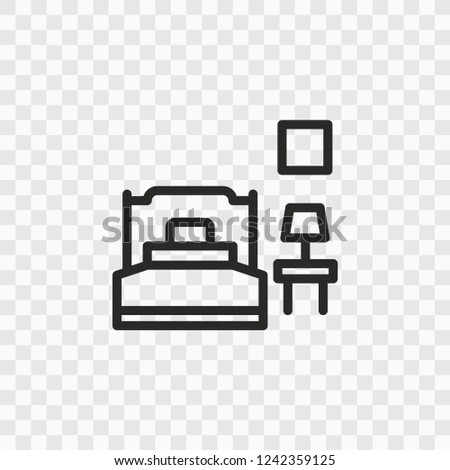 Outline Bedroom Icon Vector Illustration Style Stock Vector Royalty