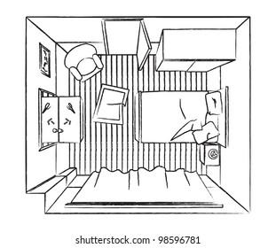Outline bedroom interior top view