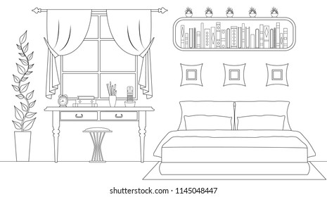 outline bedroom interior vector illustration 260nw