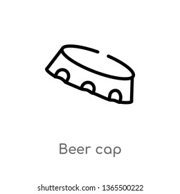 outline beer cap vector icon. isolated black simple line element illustration from miscellaneous concept. editable vector stroke beer cap icon on white background