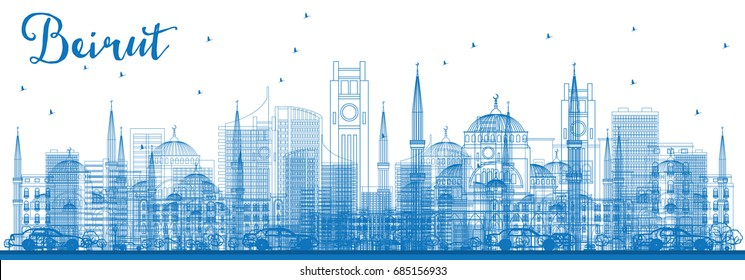 Outline Beirut Skyline with Blue Buildings. Vector Illustration. Business Travel and Tourism Concept with Modern Architecture. Image for Presentation Banner Placard and Web Site.