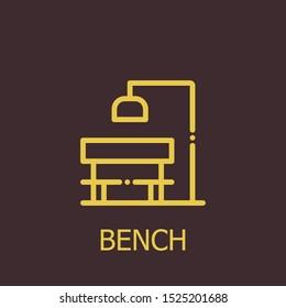 Outline bench vector icon. Bench illustration for web, mobile apps, design. Bench vector symbol.