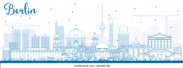 Outline Berlin Skyline with Blue Buildings. Vector Illustration. Business Travel and Tourism Concept with Historic Architecture. Image for Presentation Banner Placard and Web Site.