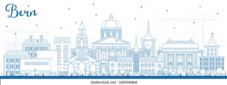 Outline Bern Switzerland City Skyline with Blue Buildings. Vector Illustration. Business Travel and Tourism Concept with Historic Architecture. Bern Cityscape with Landmarks.