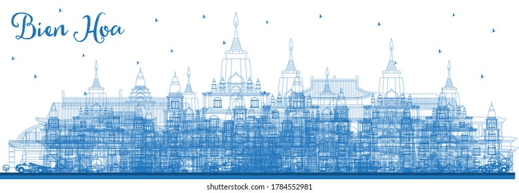 Outline Bien Hoa Vietnam City Skyline with Blue Buildings. Vector Illustration. Business Travel and Tourism Concept with Historic Architecture. Bien Hoa Cityscape with Landmarks.