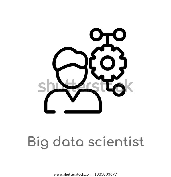 outline big data scientist vector icon stock vector royalty free 1383003677 shutterstock