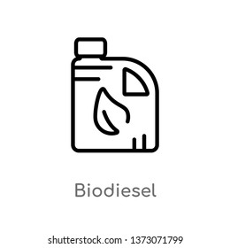 outline biodiesel vector icon. isolated black simple line element illustration from ecology concept. editable vector stroke biodiesel icon on white background