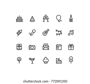 Outline Birthday Icons