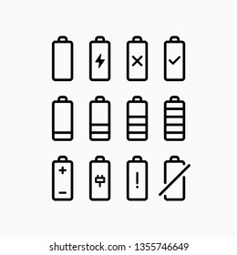 Outline black battery icons set on isolated white background