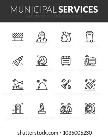 Outline black icons set in thin modern design style, flat line stroke vector symbols - municipal services collection
