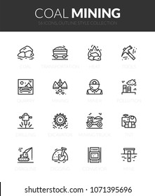 Outline black icons set in thin modern design style, flat line stroke vector symbols - coal mining collection