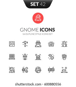 Outline black icons set in thin modern design style, flat line stroke vector symbols - gnome collection