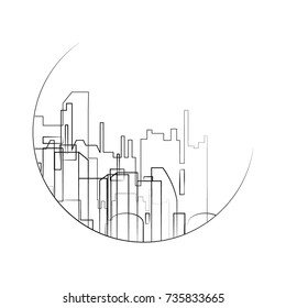 outline black and white city ican. vector abstract skyline illustration