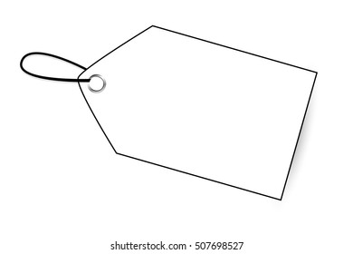 Outline Blank Tag with soft shadow isolated on white