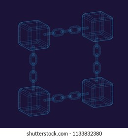 Outline blockchain background with cubes and chains