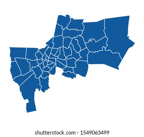 Outline Blue map of Bangkok