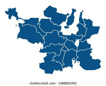 Outline blue map of Hyderabad