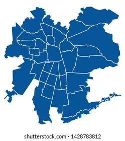 Outline blue map of Santiago
