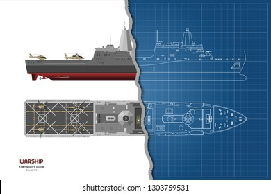 Outline blueprint of military ship. Top, front and side view. Battleship 3d model. Industrial isolated drawing of boat. Warship USS. Vector illustration