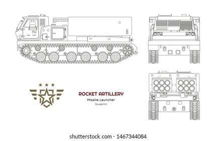 Outline blueprint of missile vehicle. Rocket artillery. Side, front and back view. Drawing of military tractor with jet weapon. Camouflage tank. Vector illustration