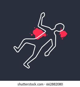 outline body like simple crime scene. concept of place of murder. white linear flat style trend modern logo graphic design isolated on background