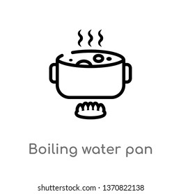 outline boiling water pan vector icon. isolated black simple line element illustration from bistro and restaurant concept. editable vector stroke boiling water pan icon on white background