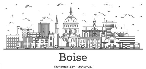 Outline Boise Idaho City Skyline with Modern Buildings Isolated on White. Vector Illustration. Boise USA Cityscape with Landmarks.