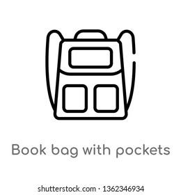 outline book bag with pockets vector icon. isolated black simple line element illustration from airport terminal concept. editable vector stroke book bag with pockets icon on white background
