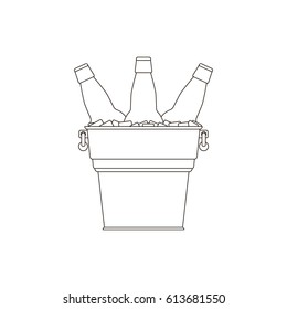 Outline bottles beer icon. Glass bottles filled with beer in a metal bucket with ice cubes on white background. Cold beer. Transparent sketches beer bottles. Isolated vector illustration.