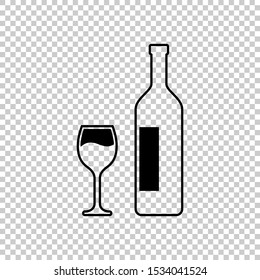 outline of bottles and drinking glasses icon flat vector illustration