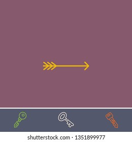 Outline bow arrow icon.Best bow arrow vector, illustrated icon for modern web and mobile design.Bonus broken key symbol