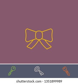 Outline bow icon.Best bow vector, illustrated icon for modern web and mobile design.Bonus broken key symbol