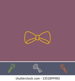 Outline bow tie icon.Best bow tie vector, illustrated icon for modern web and mobile design.Bonus broken key symbol