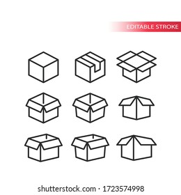 Outline box vector set. Open, closed, package parcel boxes icon set. Editable stroke.