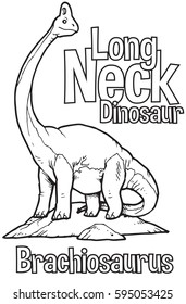 Outline Brachiosaurus Dinosaur Illustration Suitable For Any Of Graphic Design Project Such As Coloring Book And Education