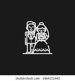 Outline bride and groom vector icon. Bride and groom illustration for web, mobile apps, design. Bride and groom vector symbol.